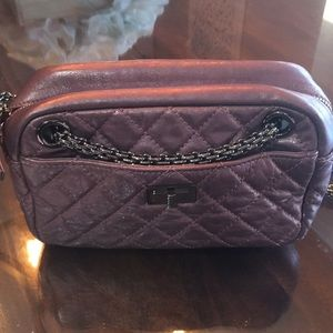 Chanel metallic quilted small camera case